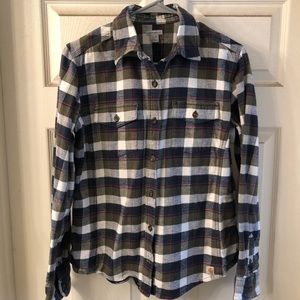 Olive Green & White Flannel